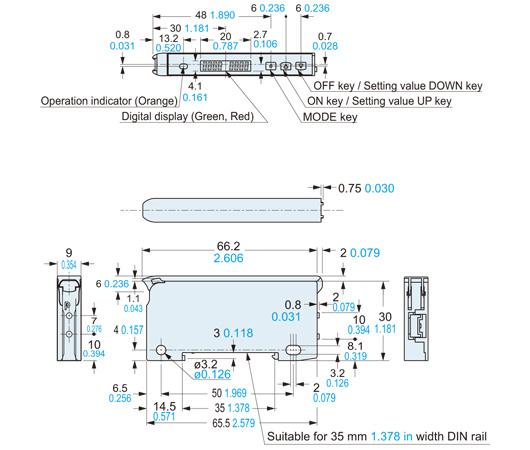 panasonic fx100 sensor dimensions