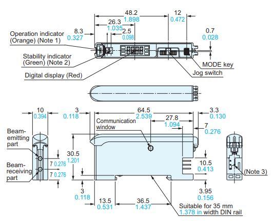 panasonic fx301 sensor dimensions