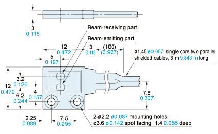 panasonic sh22 sensor dimensions