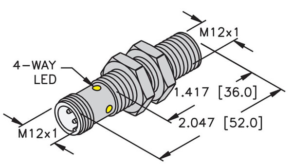 Turck 12mm Embeddable Mini Threaded eurofast quick disconnect sensor profile