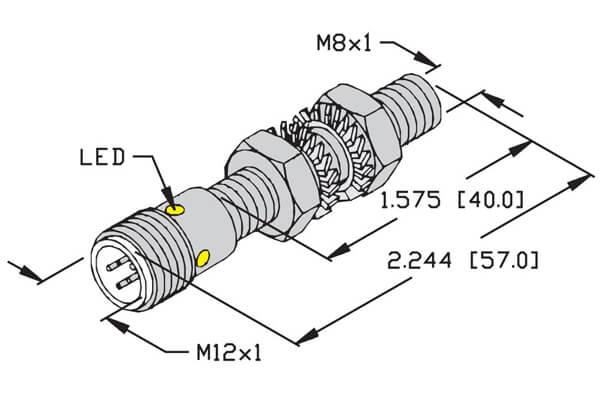 Turck 8mm Embeddable Mini Threaded eurofast quick disconnect sensor profile
