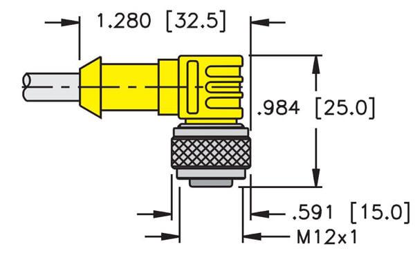 Turck M12 eurofast 4 wire 90 degree cordset dimensions