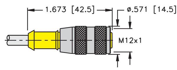 Turck M12 eurofast 4 wire straight cordset dimension