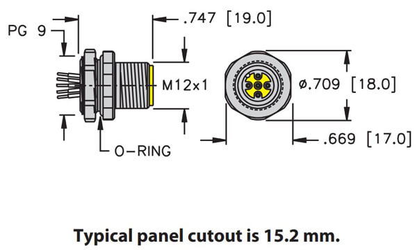 Turck M12 front mount PG 9 thread male receptacle profile