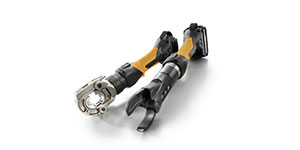 Handheld battery-operated hydraulic tools for crimping and cutting