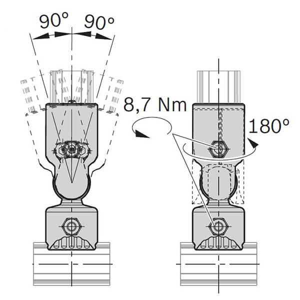 BOSCH round tube 90 degrees M6x25  3842541178